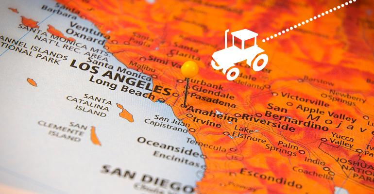 Tractor icon on map traveling toward Anaheim, California
