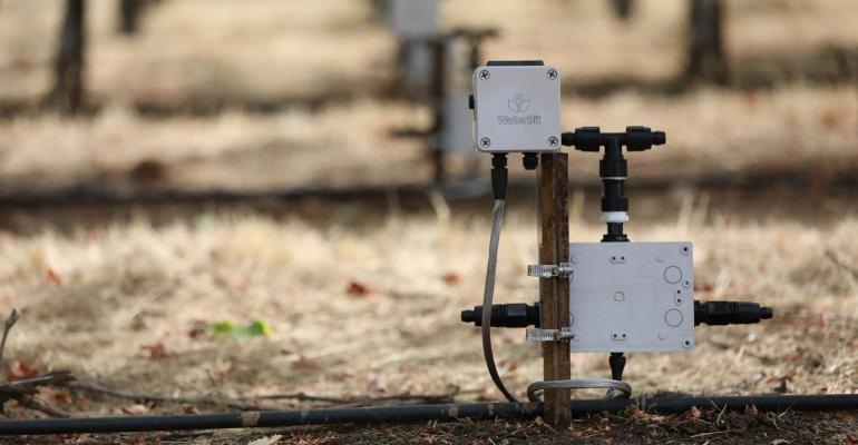 WaterBit's automated irrigation system involves taking data from soil moisture probes and sending it to a gateway via a long-range radio connection.