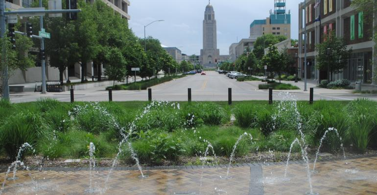 Small, pondless fountain at the Centennial Mall