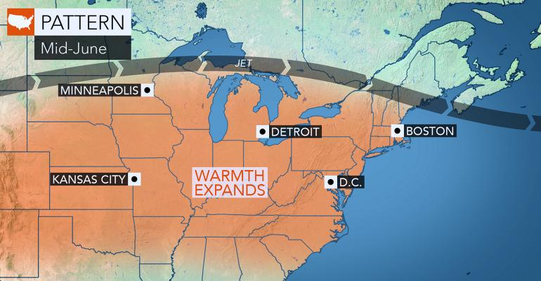 Map of mid-June warm weather pattern across the Midwest and into the Northeast