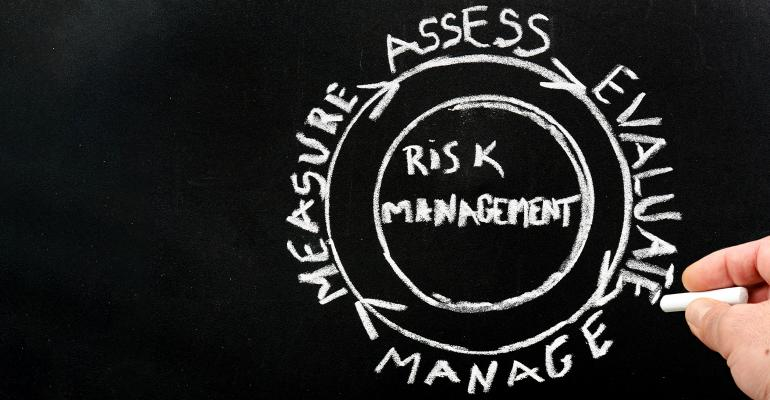 risk-management graphic chalk on blackboard