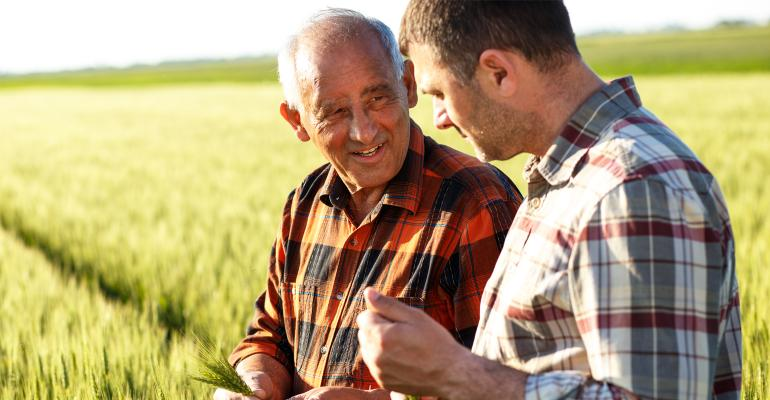 Father and son shown in conversation in a wheat field