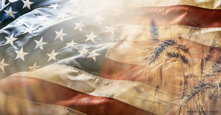 US flag and wheat montage