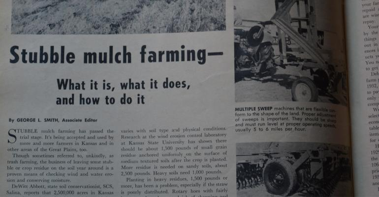 newspaper article from 1964 about early efforts at reducing tillage and increasing soil fertility
