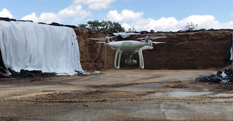 An Aurox drone hovers in a bunk silo