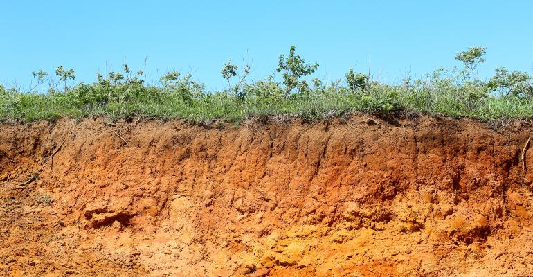 Layers of soil and grass