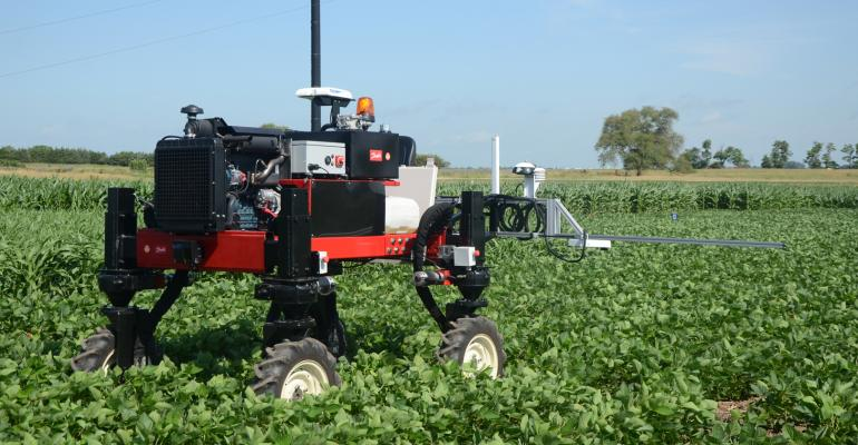 The Flex-Ro drives itself through the one-acre field at UNL's Field Phenotyping Center