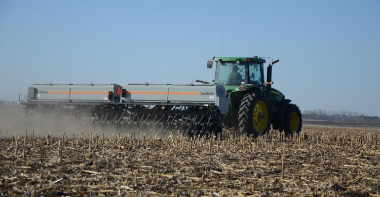 Cover crops and tractor in field during harvest