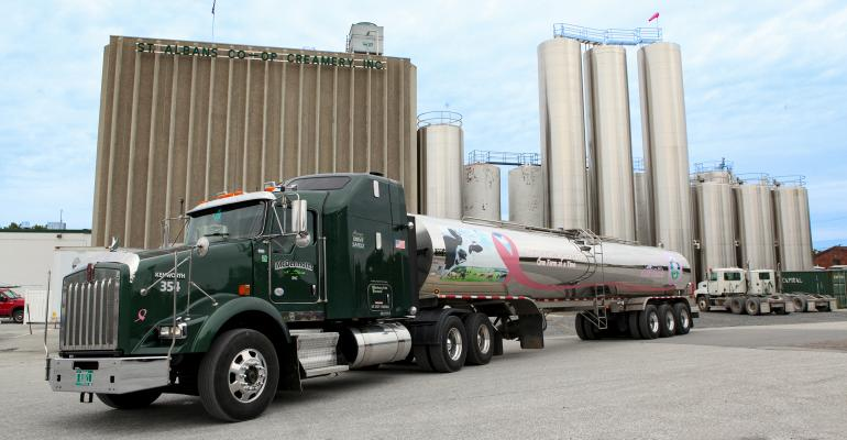 A dairy truck sits in front of St. Albans Cooperative Creamery