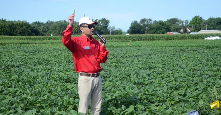 Amit Jhala talks at a recent Glyphosate-Resistant Palmer Amaranth Management Day