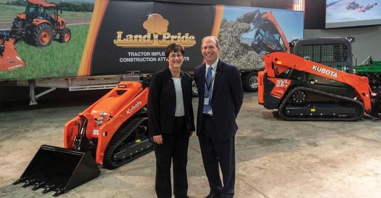 (Linda Salem, left, President and CEO of Great Plains Manufacturing, Inc. and John Quiley, President of Land Pride, participated in the announcement of a $53 million expansion project for Great Plains in Salina.