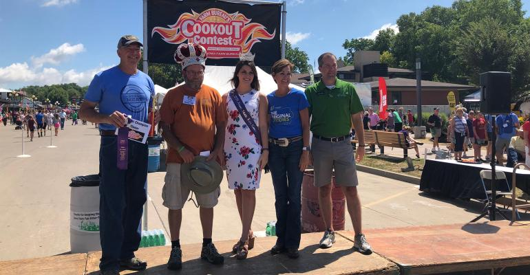 cookout contest winner Troy Anderson with Craig Hill, Anderson, Hannah Koellner, Kim Reynolds and Mike Naig