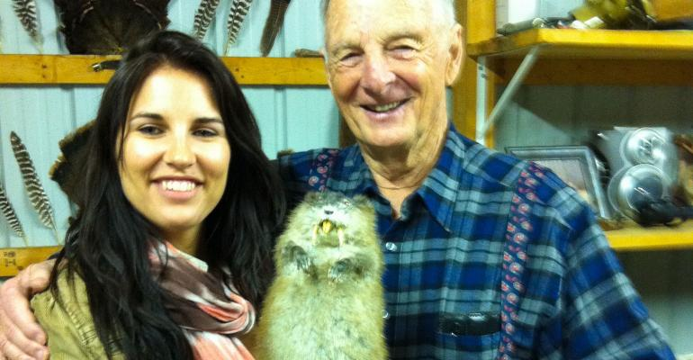 Shelby Watson-Hampton with her Uncle Phil and her stuffed muskrat