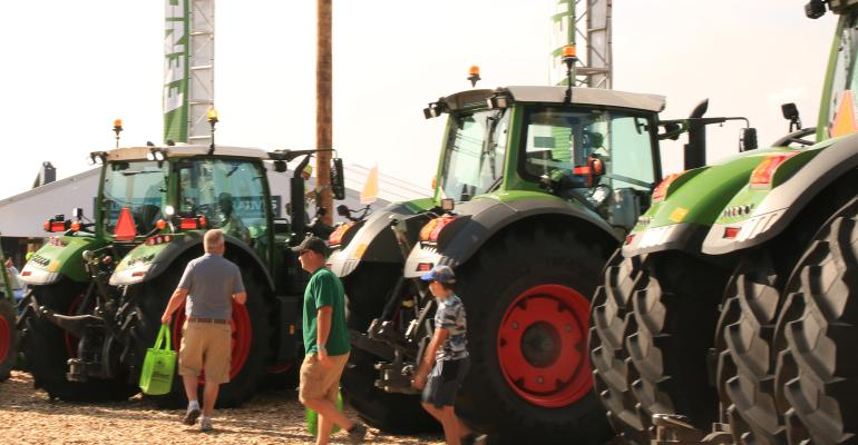 Fendt tractors lined up at Farm Progress Show