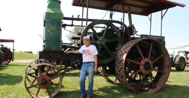 Robert Strieter of Ixonia, Wis  with his 1912 model F Rumley Oil Pull tractor