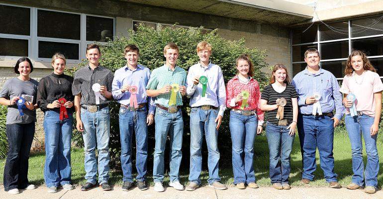The top ten individuals in the Kansas 4-H Livestock Sweepstakes