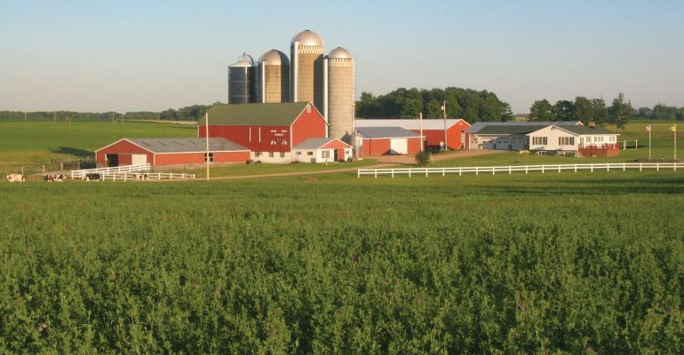 Scenic view of farmstead and crop fields