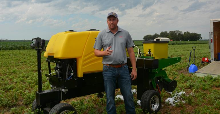 : Marcus Bartlett, FMC Precision Platform Sales representative based in Gower, Mo., was on hand for a field day at the Kansas State University Rossville research station
