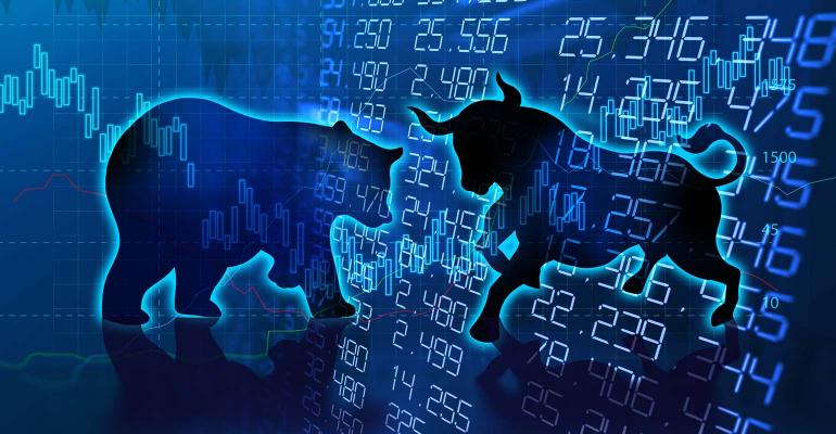 Bull and bear outlines with market numbers in background
