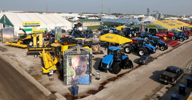 Aerial view of New Holland's exhibit space at the Farm Progress Show in Boone, Iowa