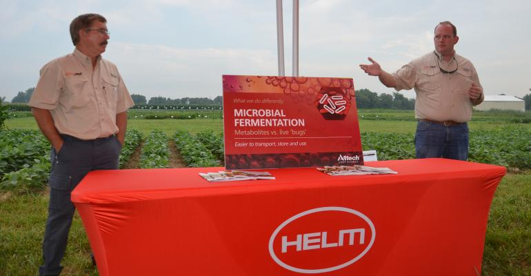 Brian Springer, left, of Alltech Crop Science and Adam Hensley of Helm stand at a table and speak at a field day