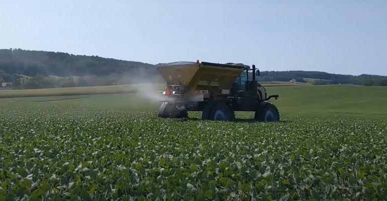 broadcasting seed into standing soybeans