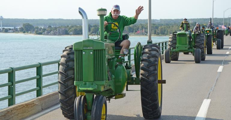 1,370 antique tractors paraded from Mackinaw City, Mich., across the Mackinac Bridge and into the Upper Peninsula town of St. Ignace on Sept. 11