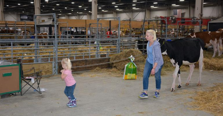 Abigail Dunn helps her mother, Melissa, lead their cow through the exhibitor hall at All-American Dairy Show