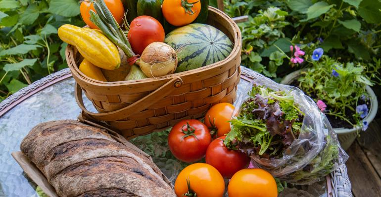 basket of vegetables and bread