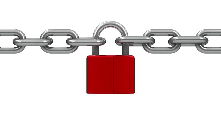 metal chain with red lock