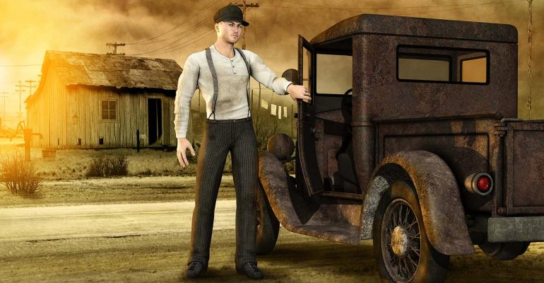 Artwork of man by old truck in Dust Bowl