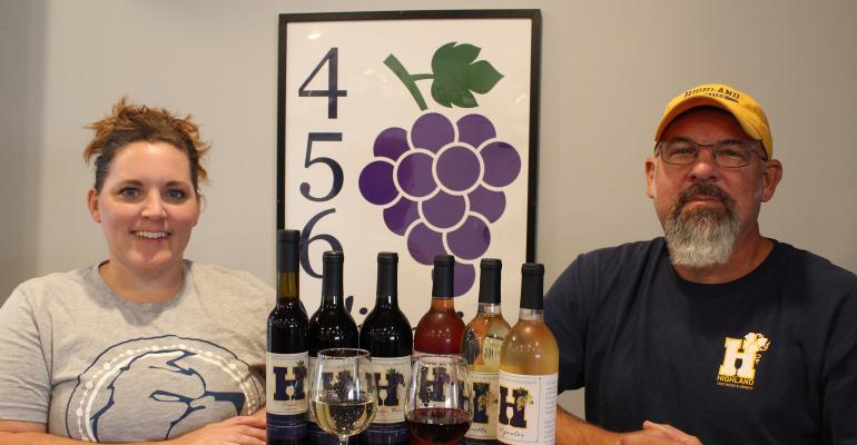 HCC Viticulture Instructor Candice Fitch-Deitz and Viticulture and Enology Program Director Scott Kohl s