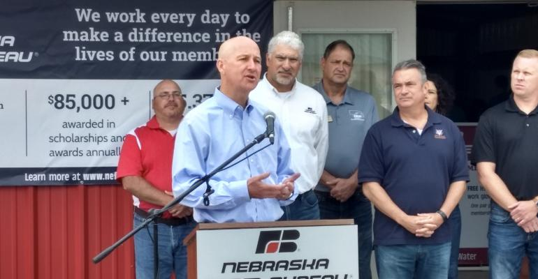 """Gov. Pete Ricketts speaking at a """"Freedom Grows Here"""" news conference at HHD"""