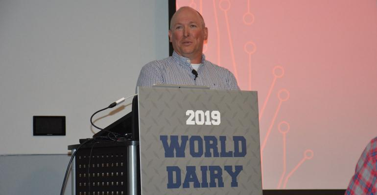 David Harvatine, herd manager of Aurora Ridge Dairy, speaks to attendees at World Dairy Expo