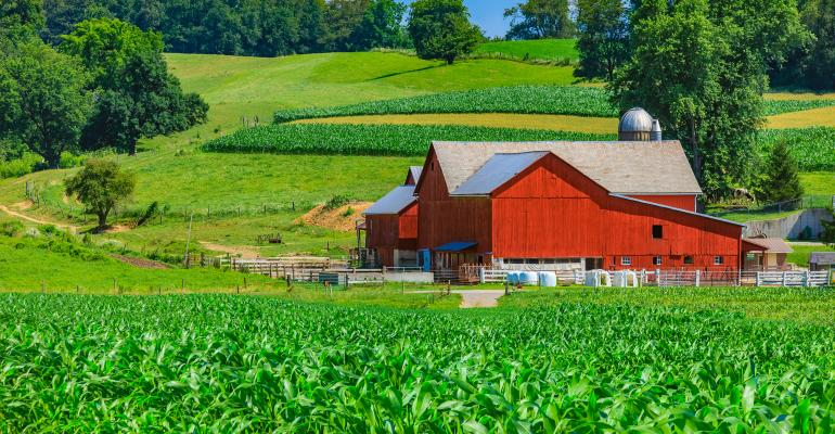 green cornfield with red barn and hills in background