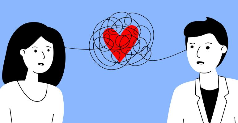 illustration of man and woman with confused love between them