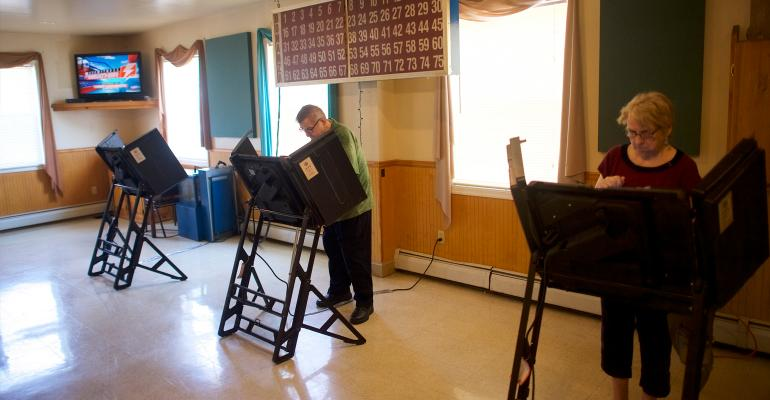 Voters cast ballots at rural polling place