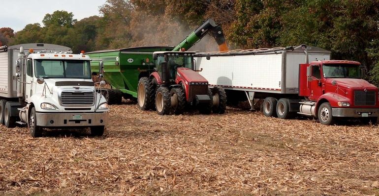 Equipment in the field at harvest time