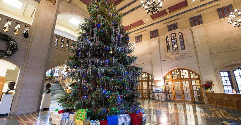 Christmas tree in the Purdue Memorial Union