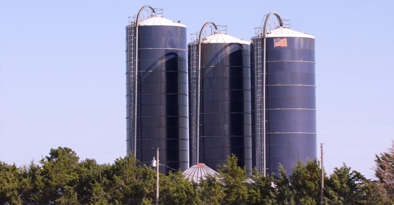 Three storage silos in the fall