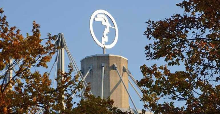 logo emblem atop a tower at Convention Center where Agritechnica is held