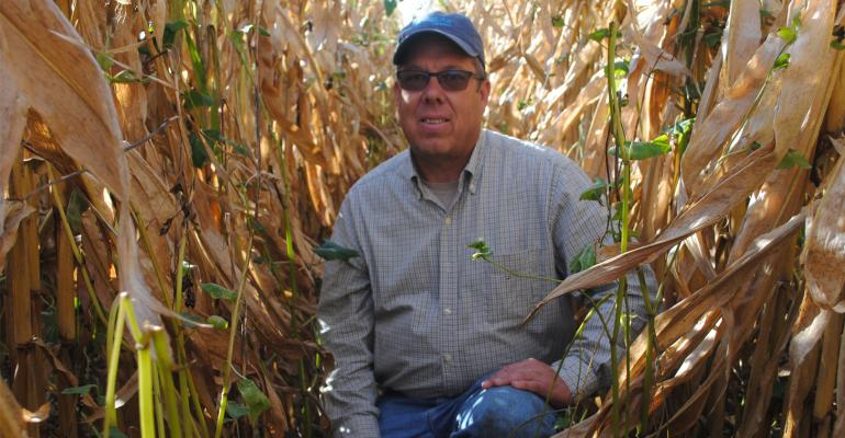 Scott Heinemann kneels in his 40-inch row corn field
