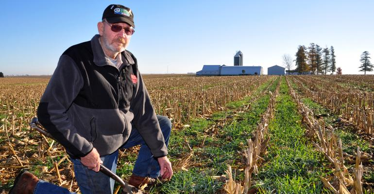 Al Schafbuch in field with no-till and cover crops