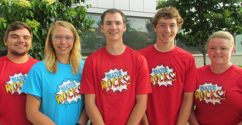 Water Resources interns are (from left) Wyatt Kaldenberg, Taylor Kuehn, Kaleb Baber, Donovan Wildman and Dawn Henderson.