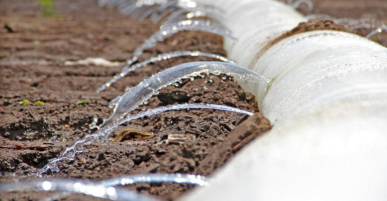 flood irrigation through poly pipe closeup