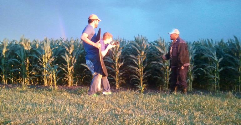 Todd Stevens (right in photo) raps to Royal Soil as he disappears through the sunset into the corn, similar to the ending of Field of Dreams.