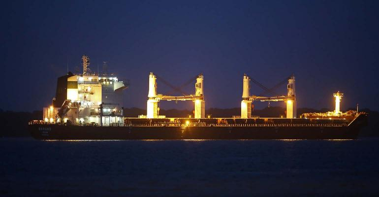Iranian ship Bavand, loaded with 48,000 tons of corn, is anchored in the port of Paranagua, Brazil.