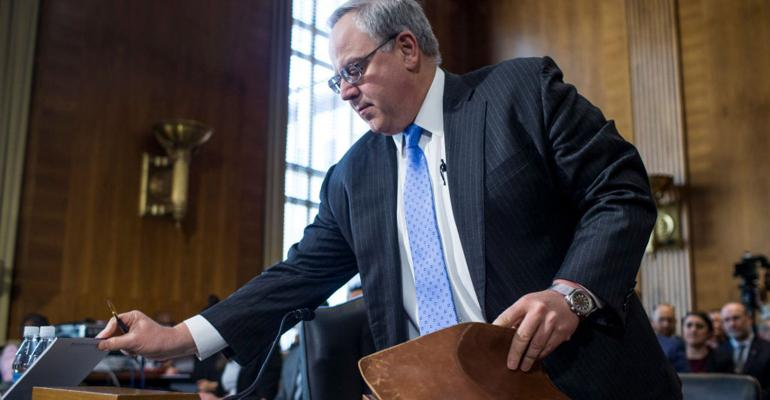 David Bernhardt arrives before testifying during a Senate Energy and Natural Resources Committee confirmation hearing on March 28, 2019 in Washington, DC.
