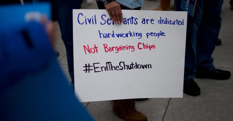 Furloughed federal workers and area elected officials hold a protest rally in front of Independence Hall on January 8, 2019 in Philadelphia, Pennsylvania.