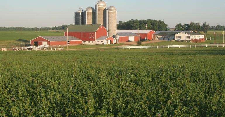 scenic farmstead with silos and red buildings